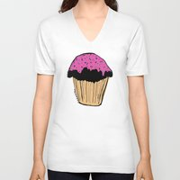 cupcake V-neck T-shirts featuring cupcake by Sarah Mould