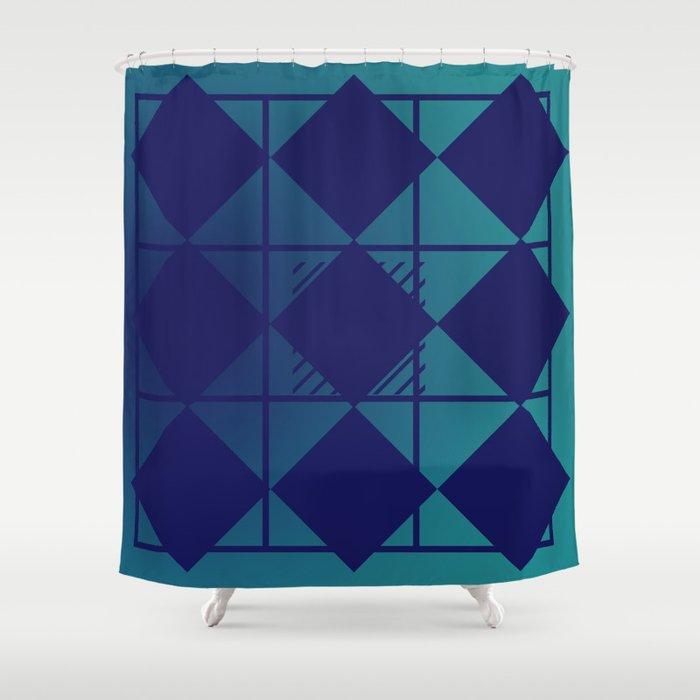 Blue,Diamond Shapes,Square Shower Curtain
