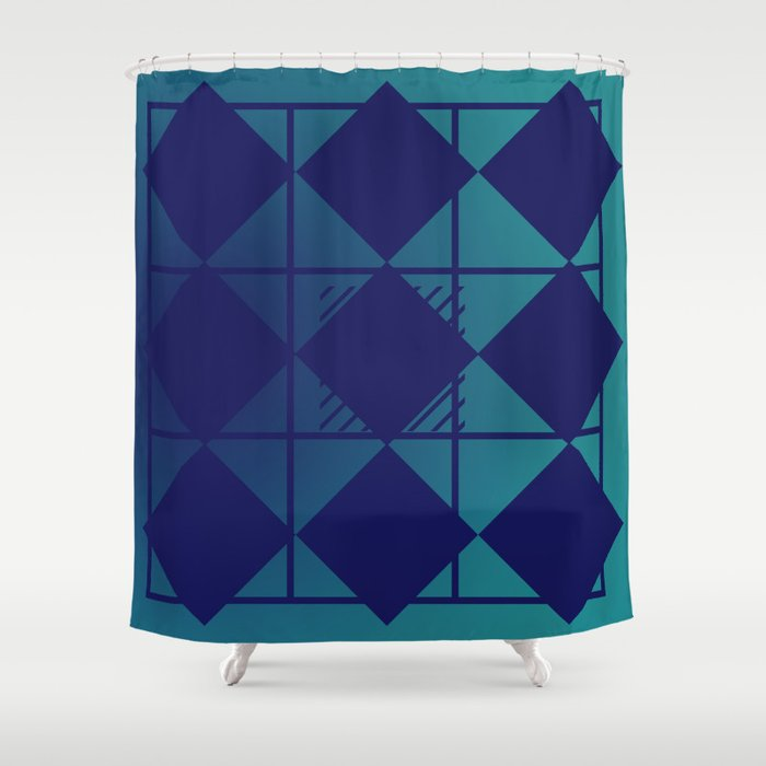 Blue,Diamond Shapes,Square Shower Curtain