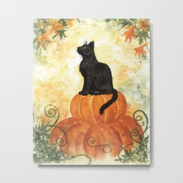 Harvest Kitty Metal Print