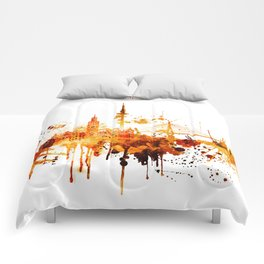 Hamburg Germany Red Yellow Skyline Comforters