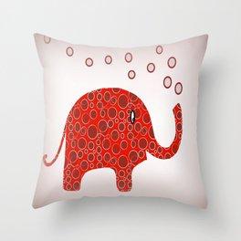 Red Circles Elephant Throw Pillow