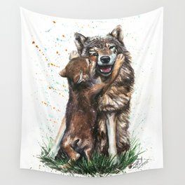 Wolf - Father and Son Wall Tapestry