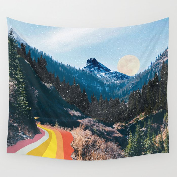 1960's Style Mountain Collage Wall Tapestry