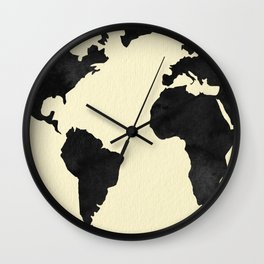 World Continents Map Black on Linen Wall Clock