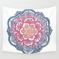 bedding Wall Tapestries featuring Radiant Medallion Doodle by micklyn
