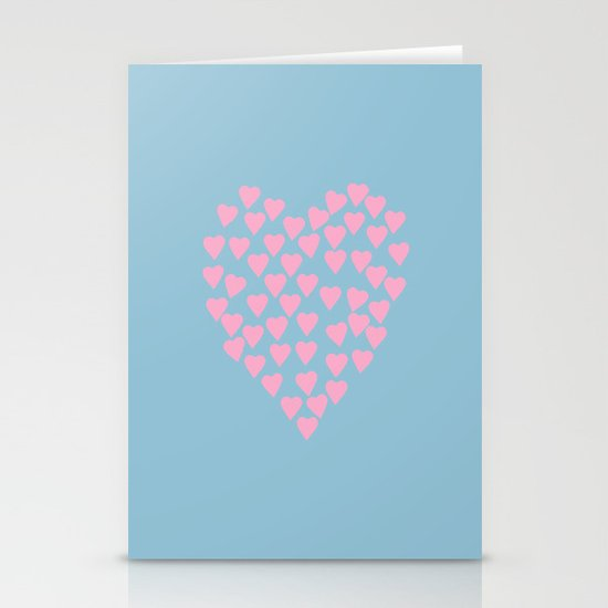 Hearts Heart Pink on Blue Stationery Cards