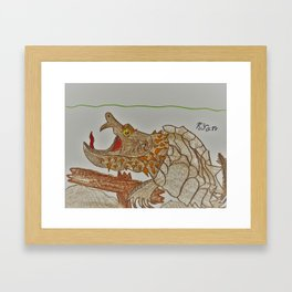 Alligator Snapping Turtle Framed Art Print