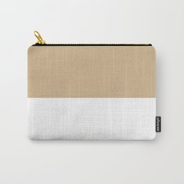 White and Tan Brown Horizontal Halves Carry-All Pouch