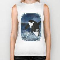killer whale Biker Tanks featuring Killer Whale Orca by Aquamarine Studio