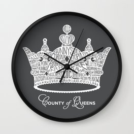 County of Queens | NYC Borough Crown (WHITE) Wall Clock
