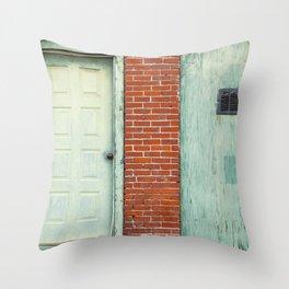 Turquoise on Brick Throw Pillow