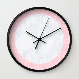 Pink, Grid & Marble Moon Wall Clock