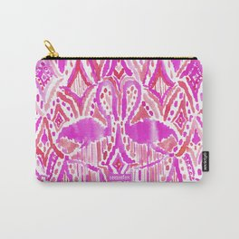 HEY FLAMINGO Pink Watercolor Tribal Carry-All Pouch