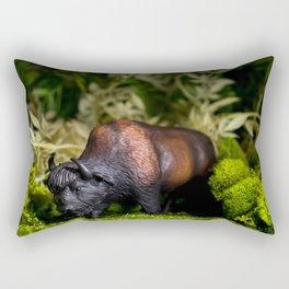 A Bison/Buffalo in lush greenery Rectangular Pillow