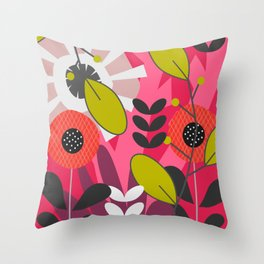 Floral fairy tale in pink Throw Pillow