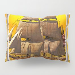 American Frigate Sailing Against a Sunset Pillow Sham