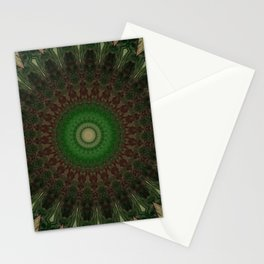 Mandala in dark red and green colors Stationery Cards
