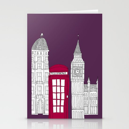 Night Sky // London Red Telephone Box Stationery Cards