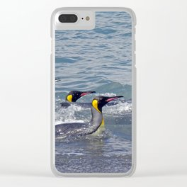 Swimming King Penguins Clear iPhone Case