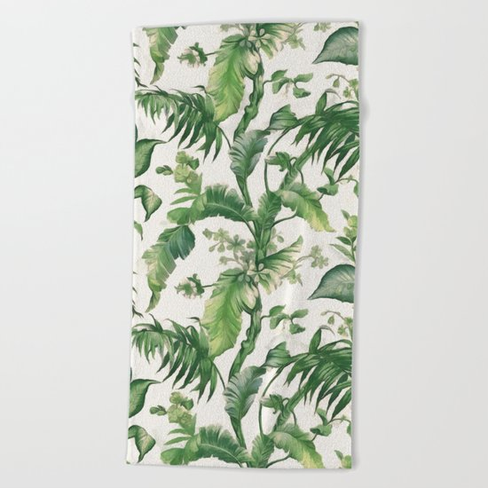 Green tropical leaves Beach Towel