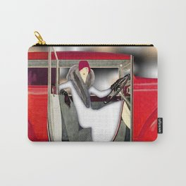 Art Deco Woman in Red Sports Car Carry-All Pouch