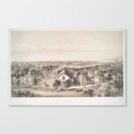Vintage Pictorial Map of Salem MA (1854) Canvas Print