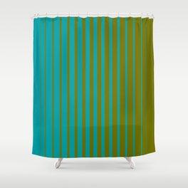 gradient stripes aqua olive Shower Curtain
