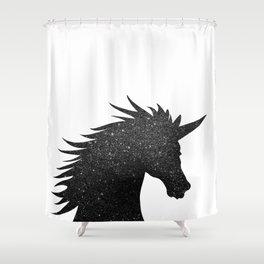 Black Glitter Unicorn Shower Curtain