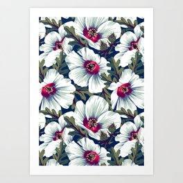 New Zealand Hibiscus Floral Print (Night) Art Print