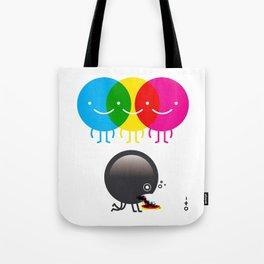 CMY makes K dizzy Tote Bag