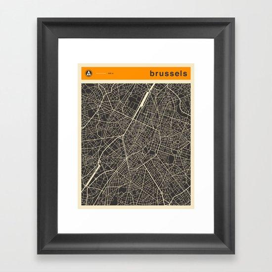 Brussels Map Framed Art Print