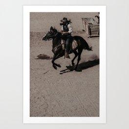 Cowboy and horse Art Print