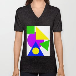 Colourful Simple Shapes Art Green Purple Blue And Yellow Bright Decor Artwork Gift Unisex V-Neck