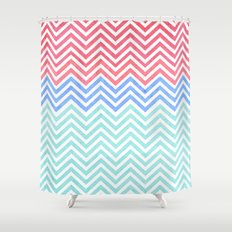 Chevron Blue and Red vintage Shower Curtain