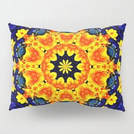 Yellow Orange Floral Madala  Background Dark Blue Pillow Sham