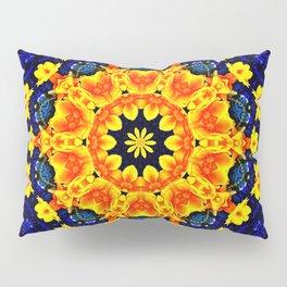 Yellow Orange Floral Madala  Background Dark Blue Pillow Sham