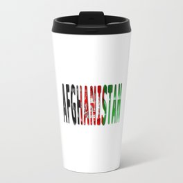 Afghanistan Word With Flag Texture Travel Mug