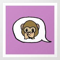Hand-drawn Emoji - Monkey Say, Speak No Evil Art Print