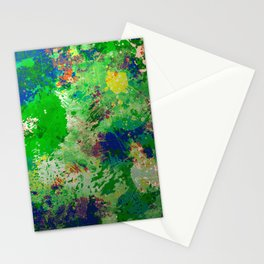 Spring Time Splatter - Abstract blue and green platter painting Stationery Cards