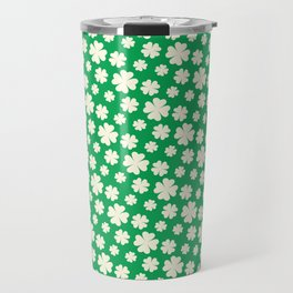 Off-White Four Leaf Clover Pattern with Green Background Travel Mug