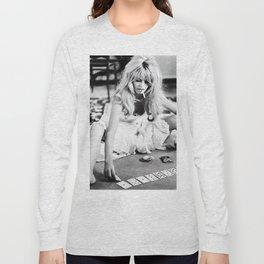 Brigitte Bardot Playing Cards, Black and White Photograph Long Sleeve T-shirt