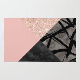 Modern pastel pink black strokes watercolor color block Rug