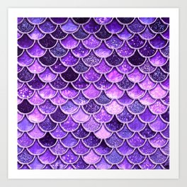 Pantone Ultra Violet Glitter Ombre Mermaid Scales Pattern Art Print