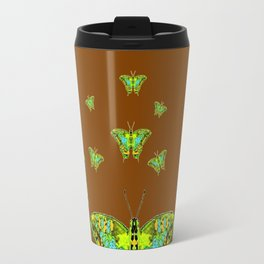 GREEN-YELLOW MOTHS ON COFFEE BROWN Travel Mug