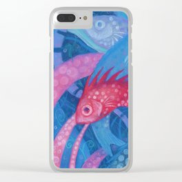The Spawning, underwater art, pink & blue fish Clear iPhone Case