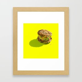 Sprinkle Ice Cream Cookie Sandwich on Yellow Framed Art Print