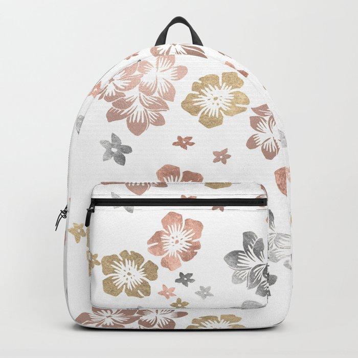 Rose Gold Copper Bronze Tropical Flowers Multi Metallic Backpack