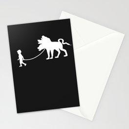 Boy Walks Pet Cerberus Stationery Cards