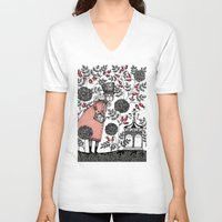 agnes V-neck T-shirts featuring Winter Garden by Judith Clay